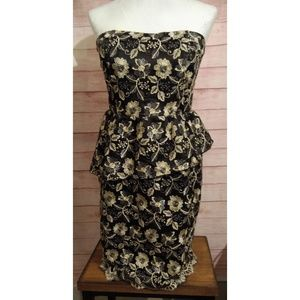 Black/gold metallic strapless dress size M